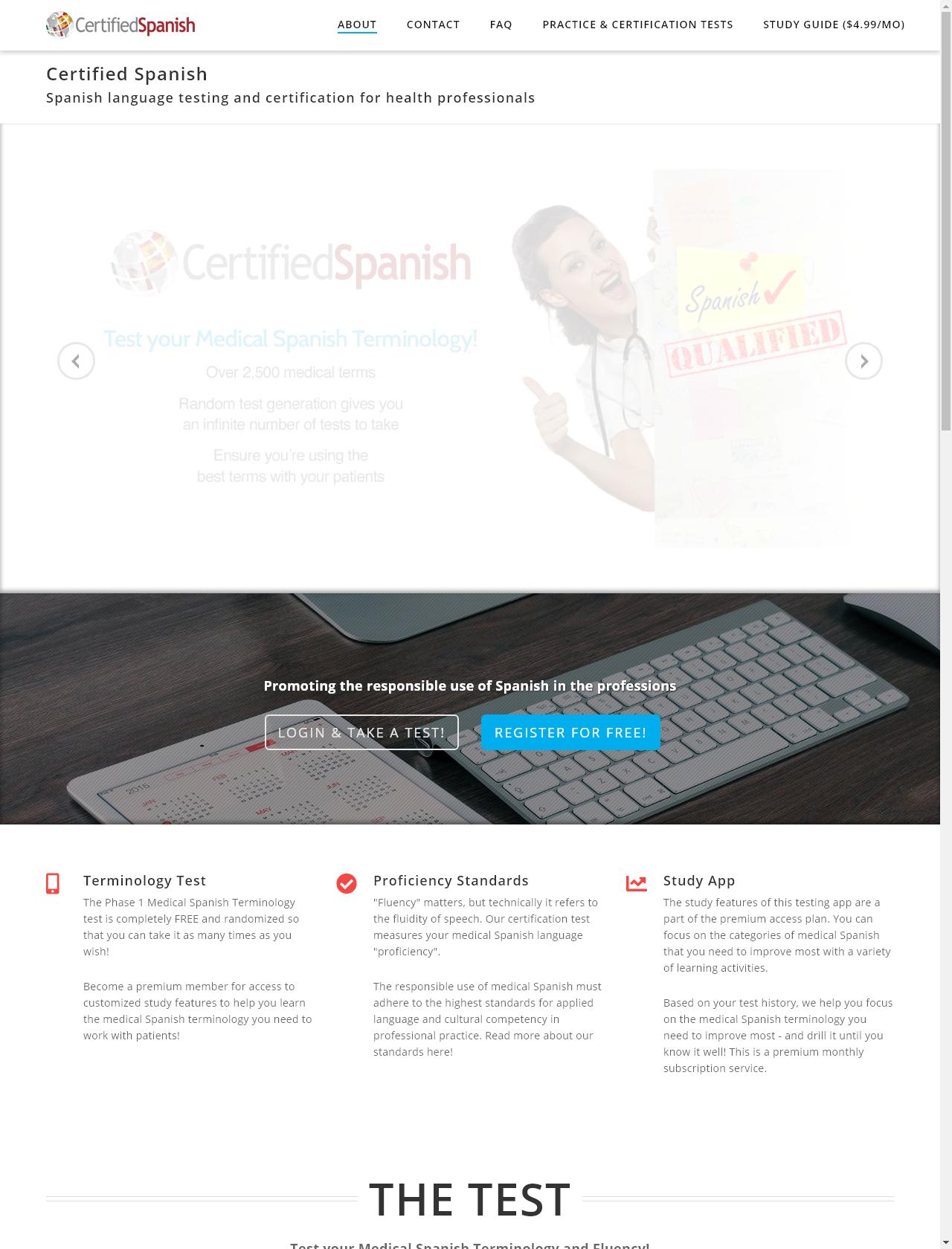 Screenshot Desktop - https://certifiedspanish.com/