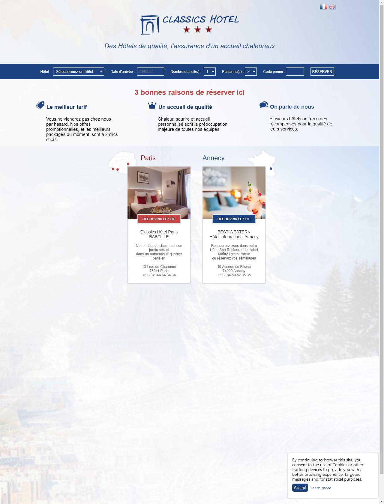 Screenshot Desktop - https://classics-hotel.com/