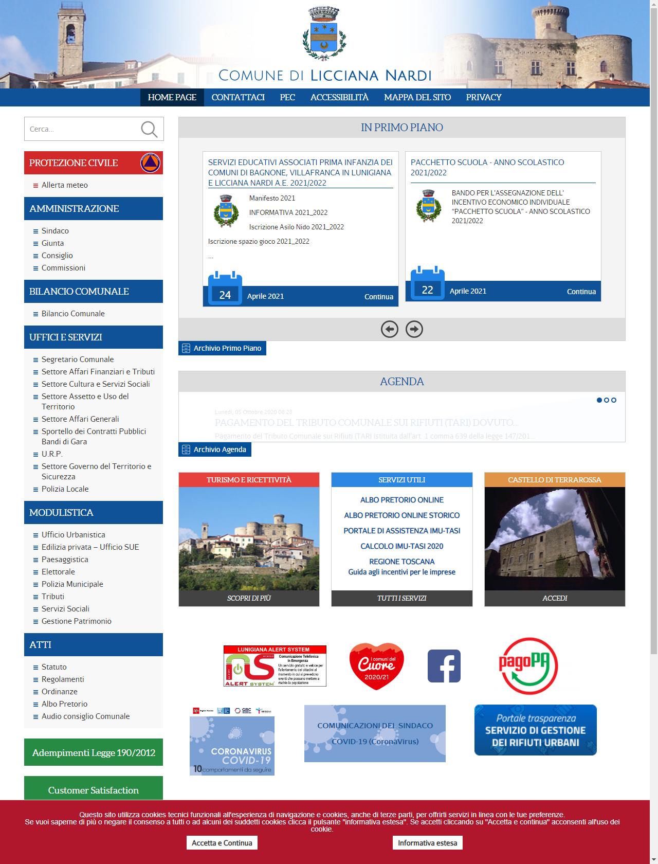 Screenshot Desktop - https://comunelicciananardi.ms.it/
