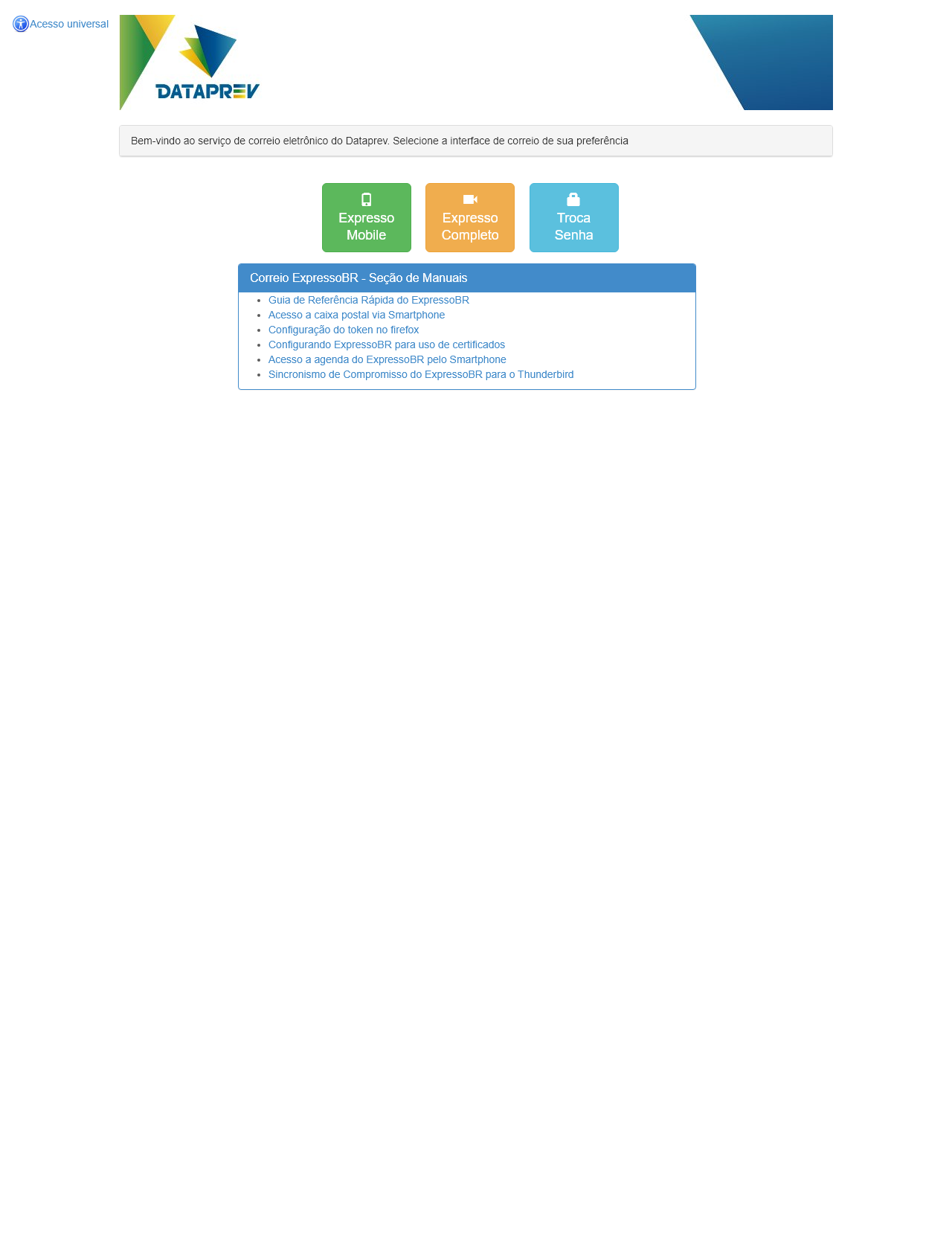 Screenshot Desktop - https://correio.datapras.com.br/