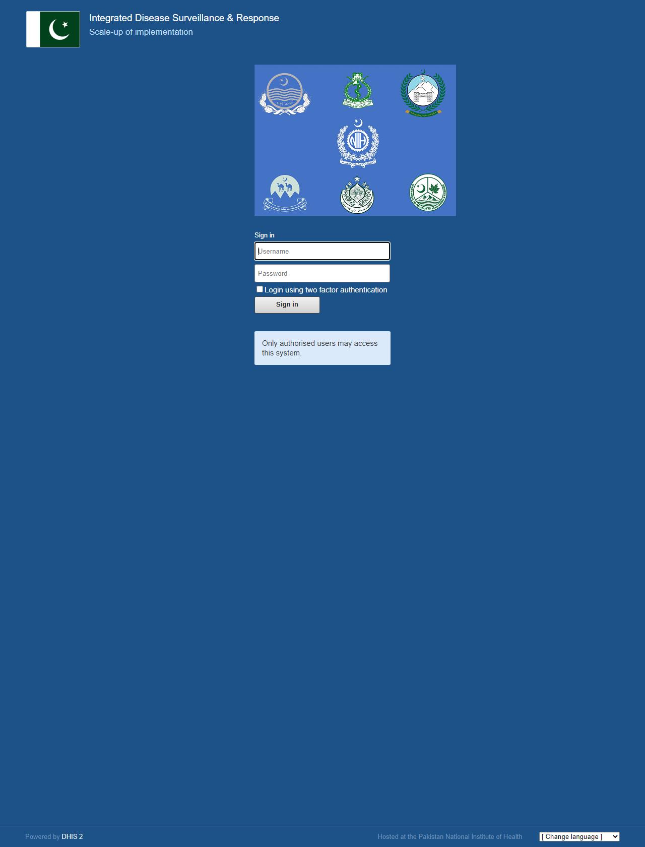 Screenshot Desktop - https://dhis2.nih.org.pk/dhis-web-commons/security/login.action