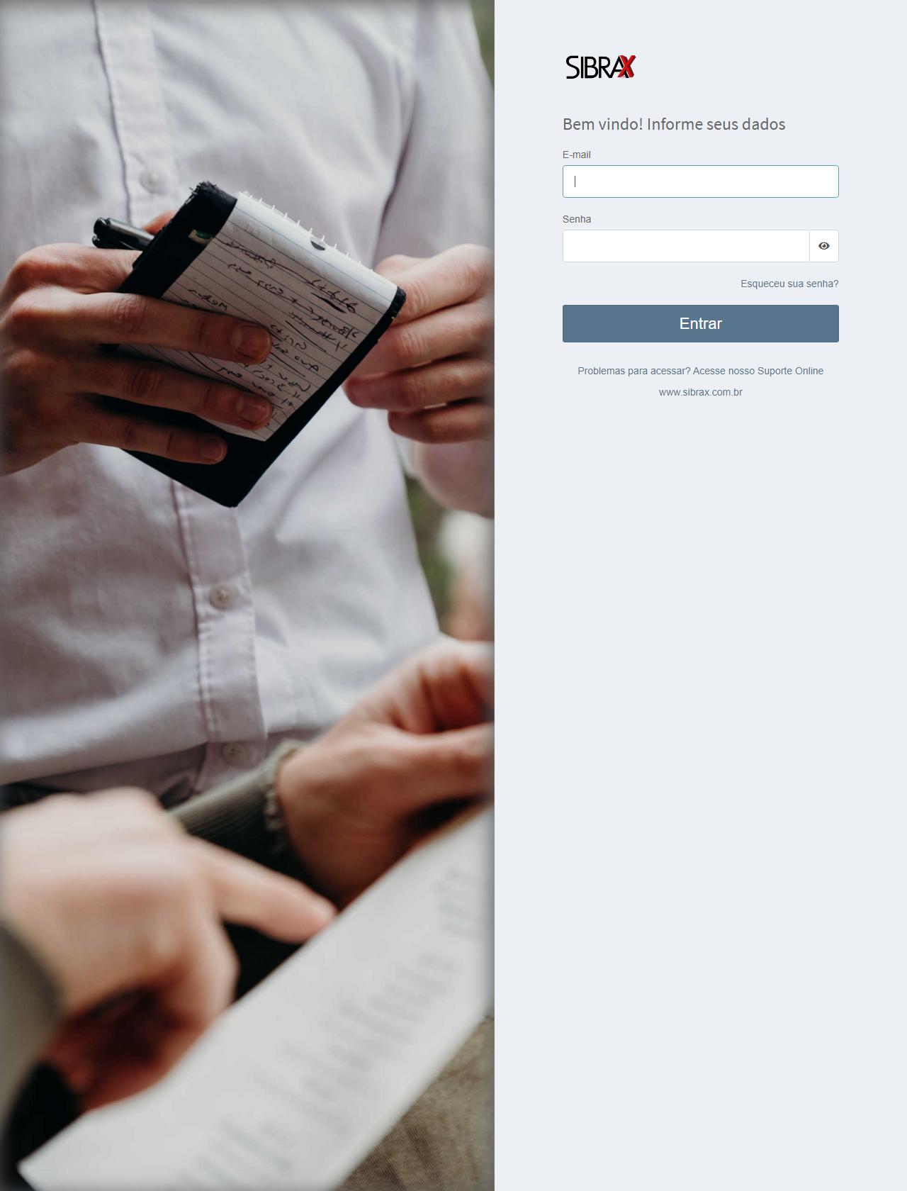 Screenshot Desktop - https://emissor.sibrax.com.br/app/entrar