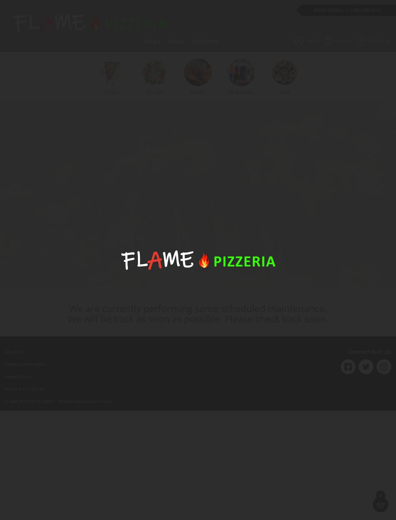 Screenshot Desktop - https://flamepizzeria.ca/