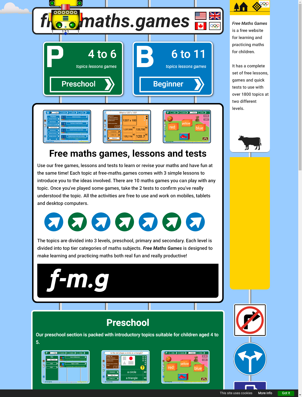 Screenshot Desktop - https://free-maths.games/