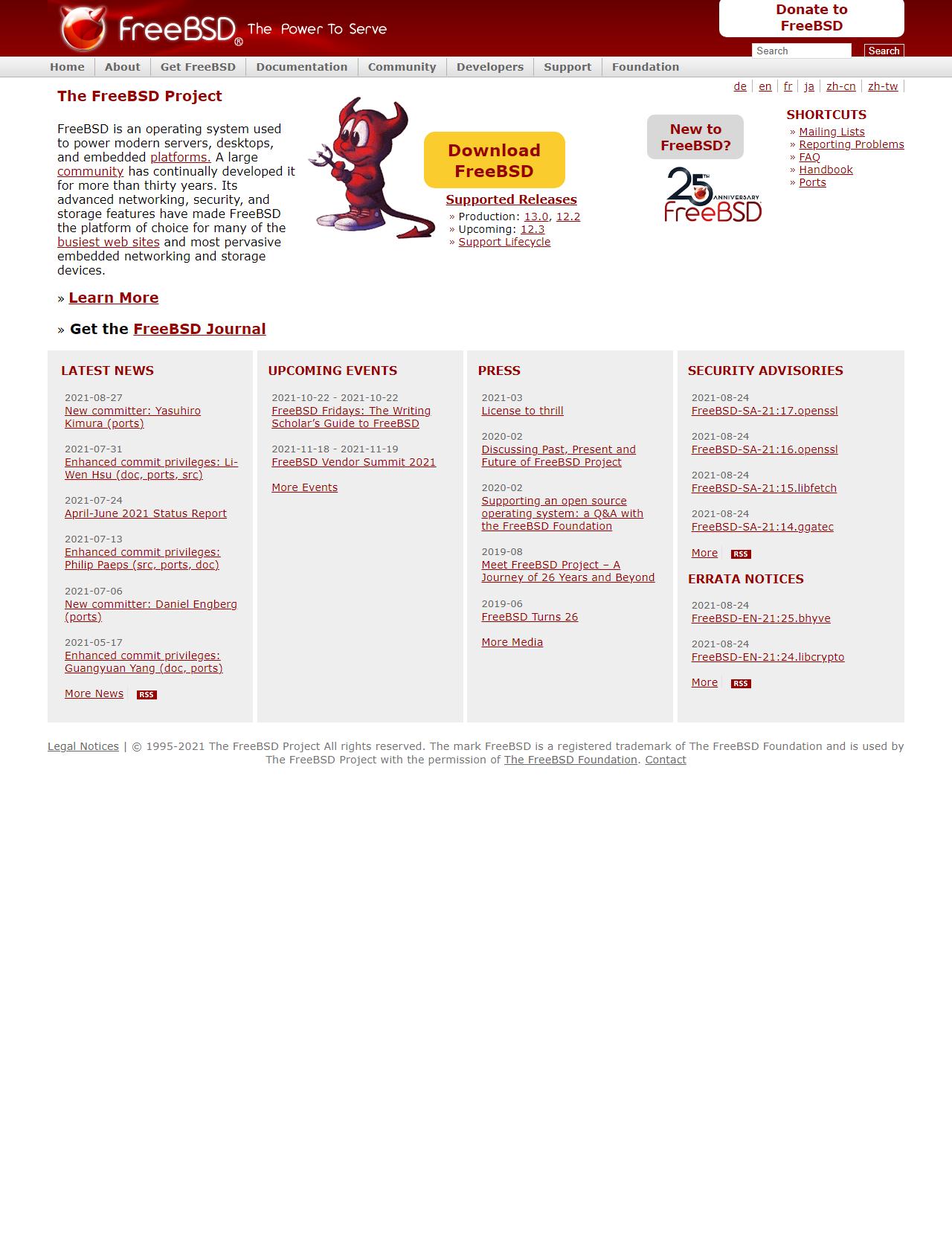 Screenshot Desktop - https://www.freebsd.org/