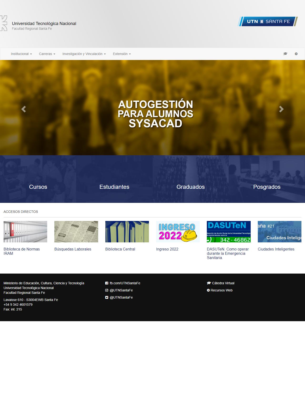 Screenshot Desktop - https://www.frsf.utn.edu.ar/
