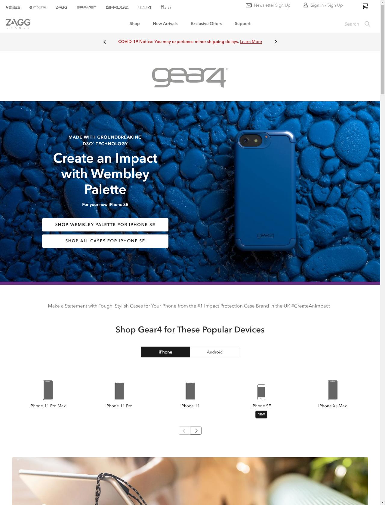 Screenshot Desktop - https://www.zagg.com/en_us/gear4