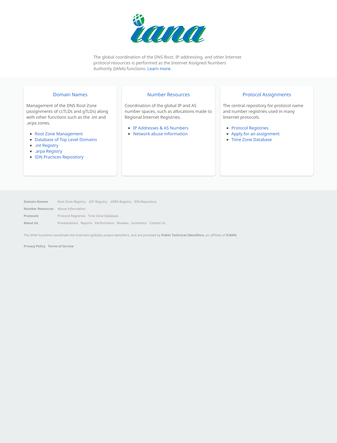 Screenshot Desktop - https://www.iana.org/