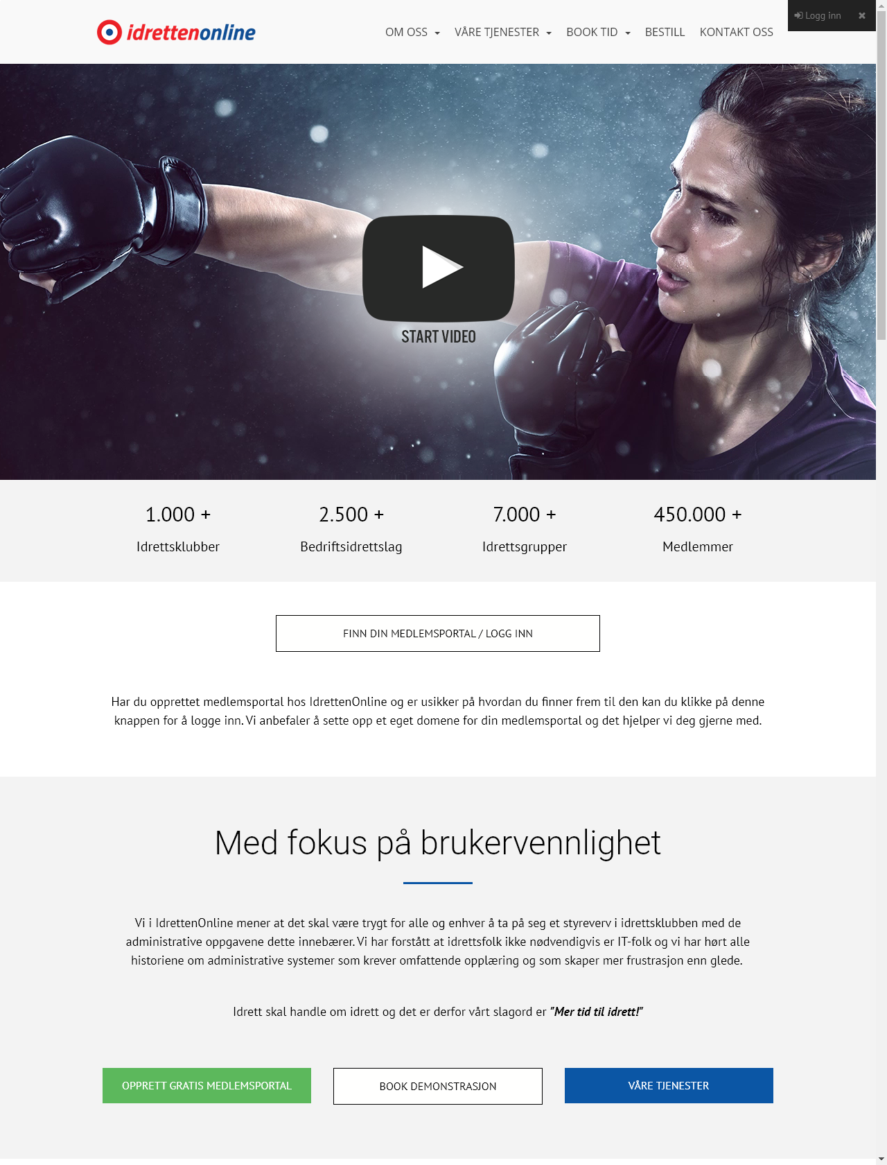 Screenshot Desktop - https://www.idrettenonline.no/