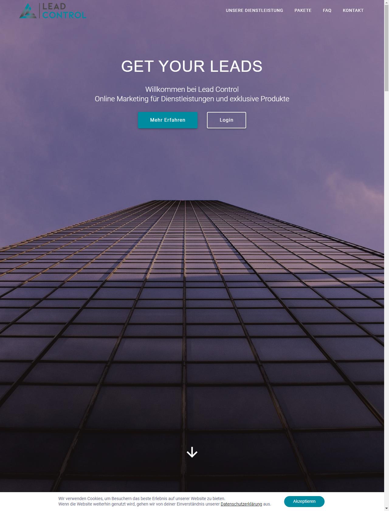 Screenshot Desktop - https://www.lead-control.de/