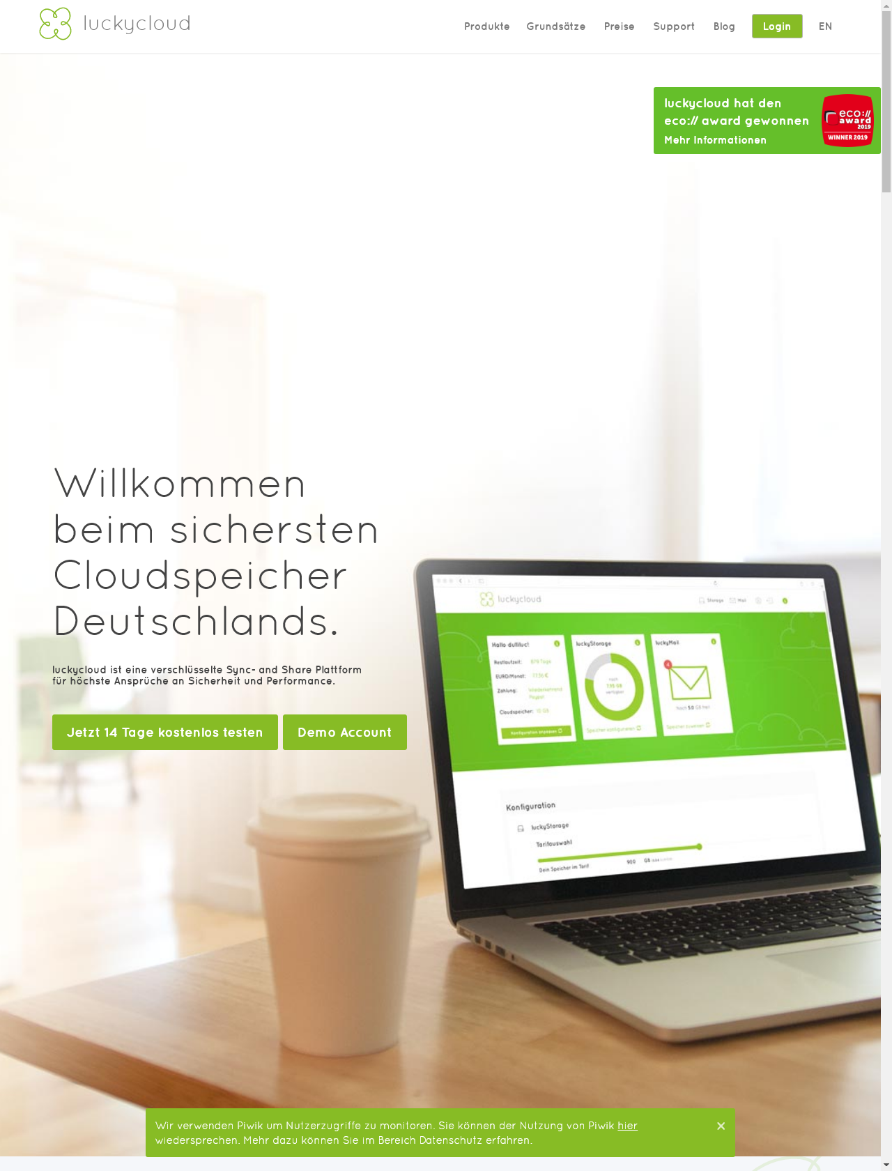 Screenshot Desktop - https://luckycloud.de/de/