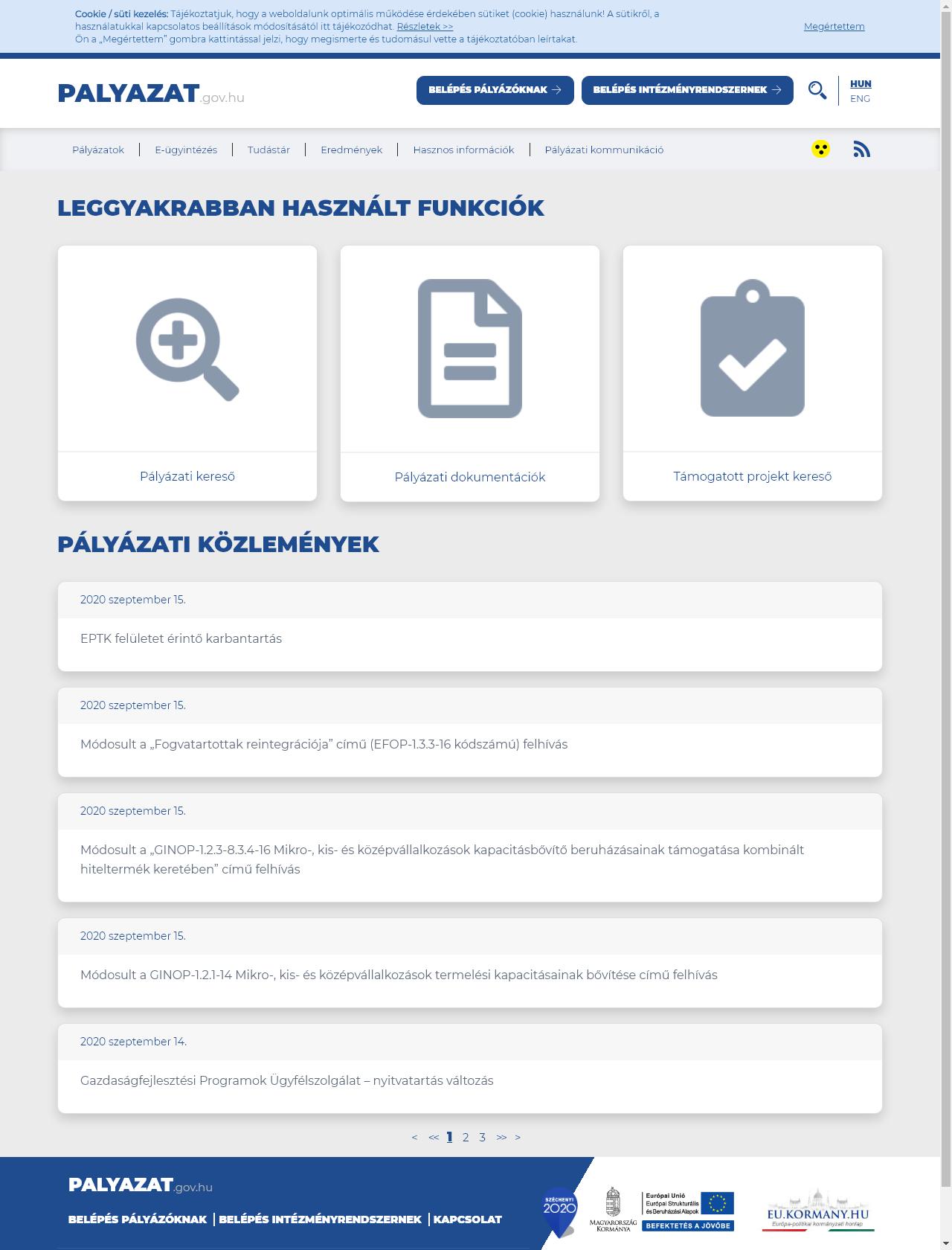 Screenshot Desktop - https://www.palyazat.gov.hu/