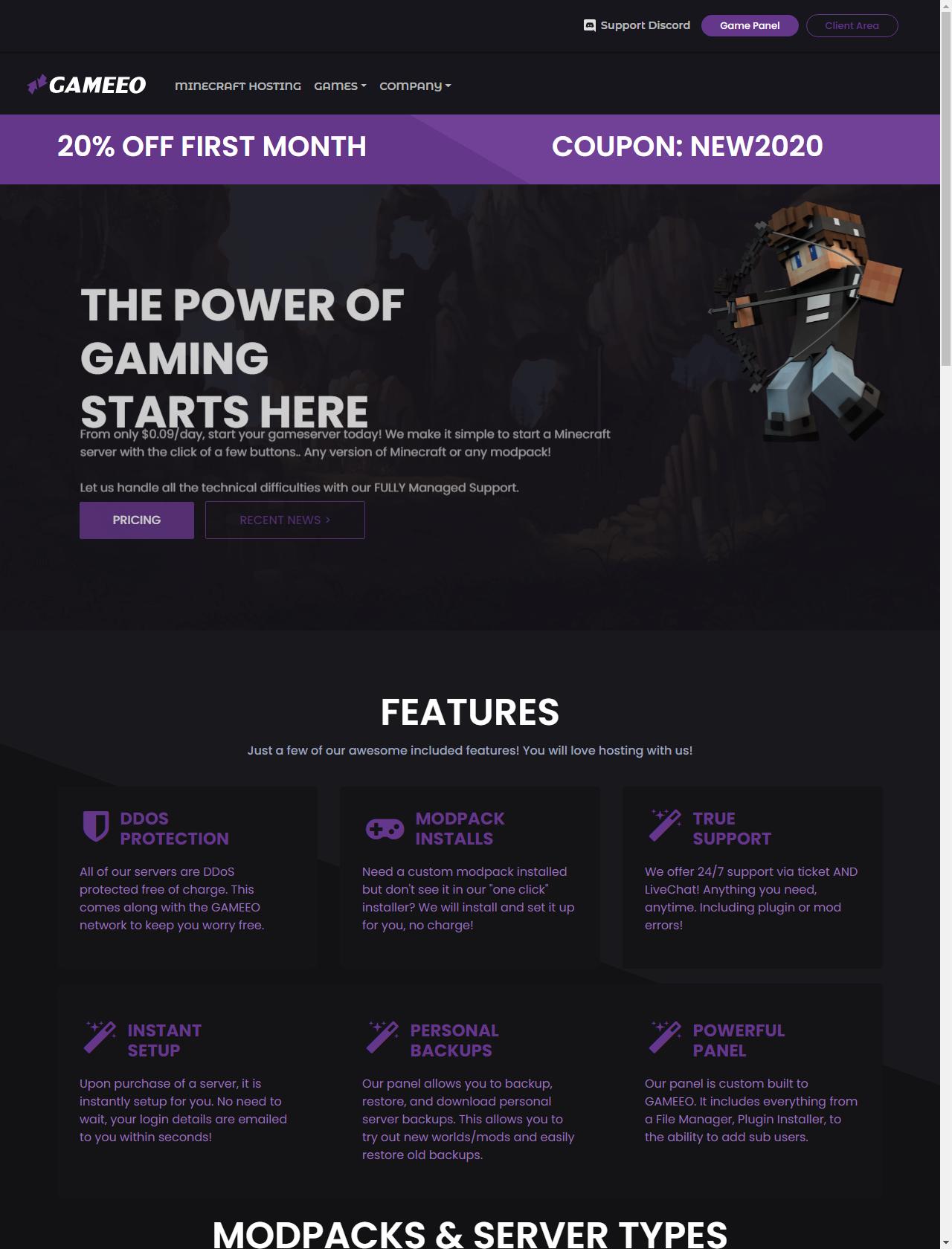 Screenshot Desktop - https://panel.gameeo.com/