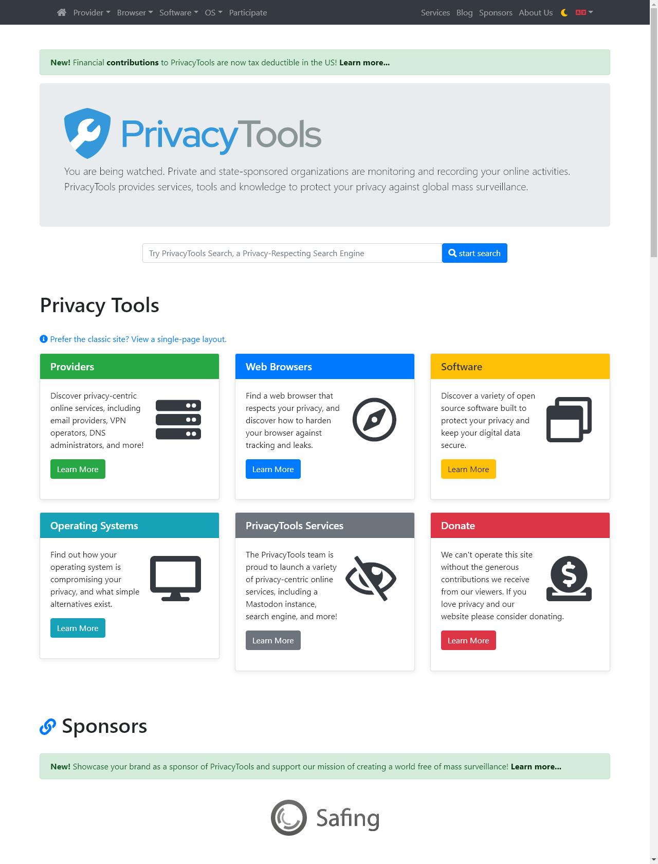 Screenshot Desktop - https://www.privacytools.io/