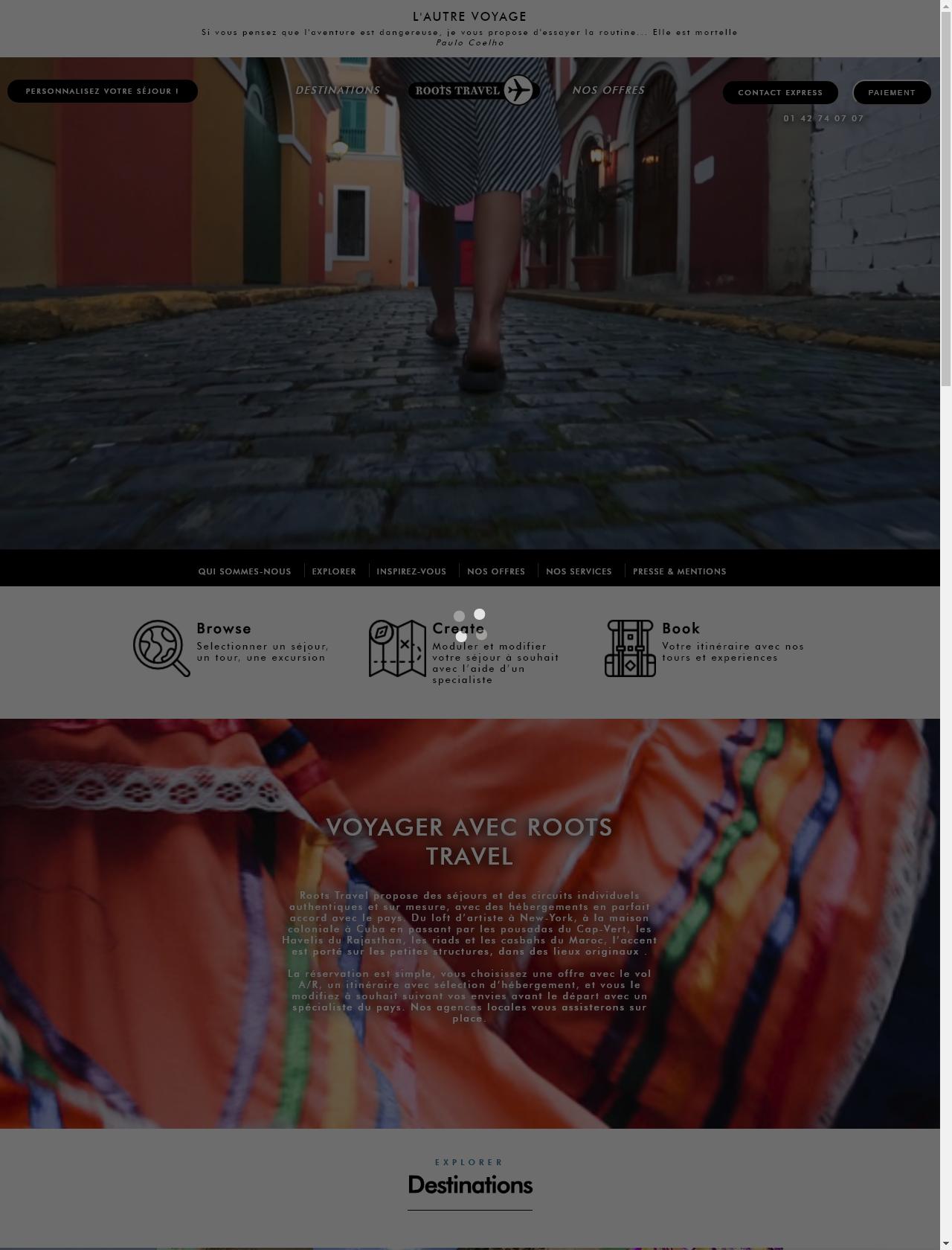 Screenshot Desktop - https://www.rootstravel.com/accueil/