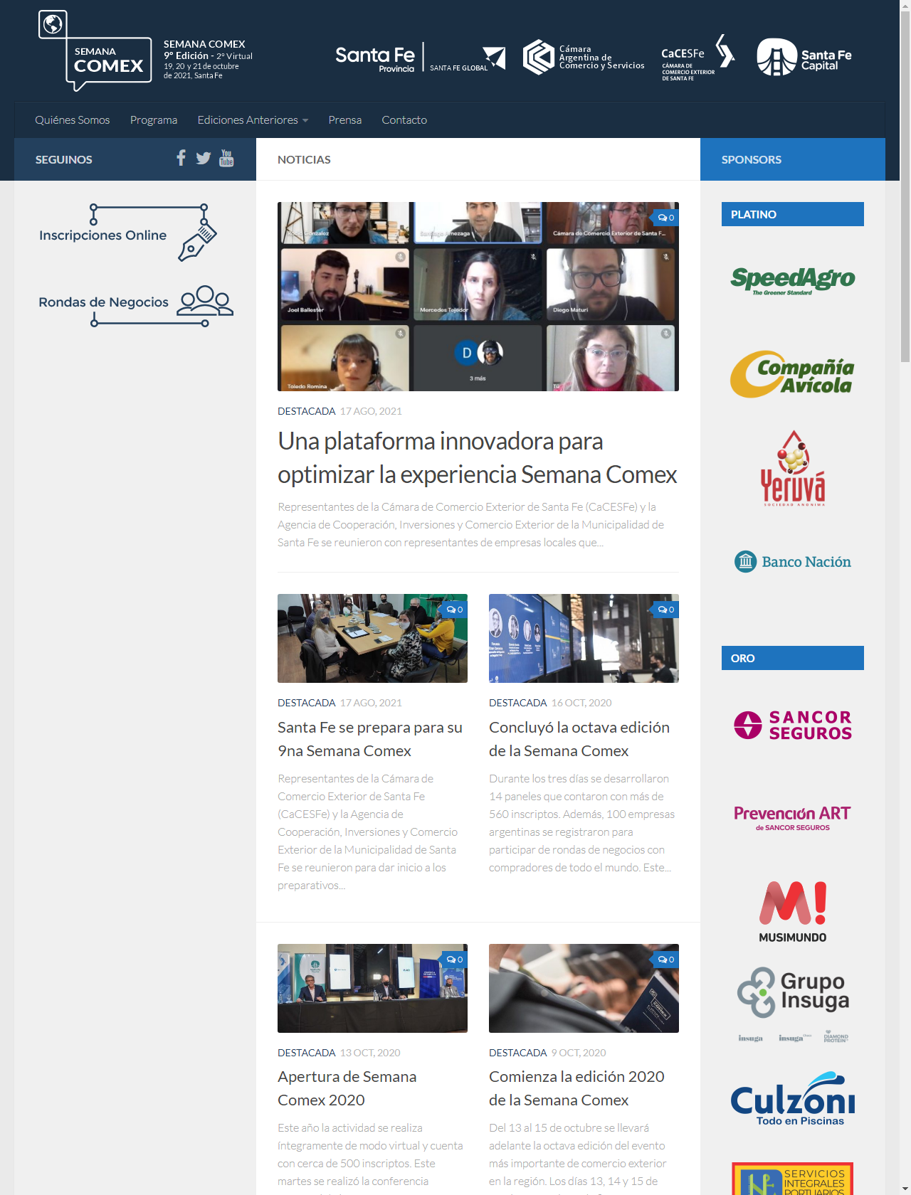 Screenshot Desktop - https://www.semanacomex.com.ar/