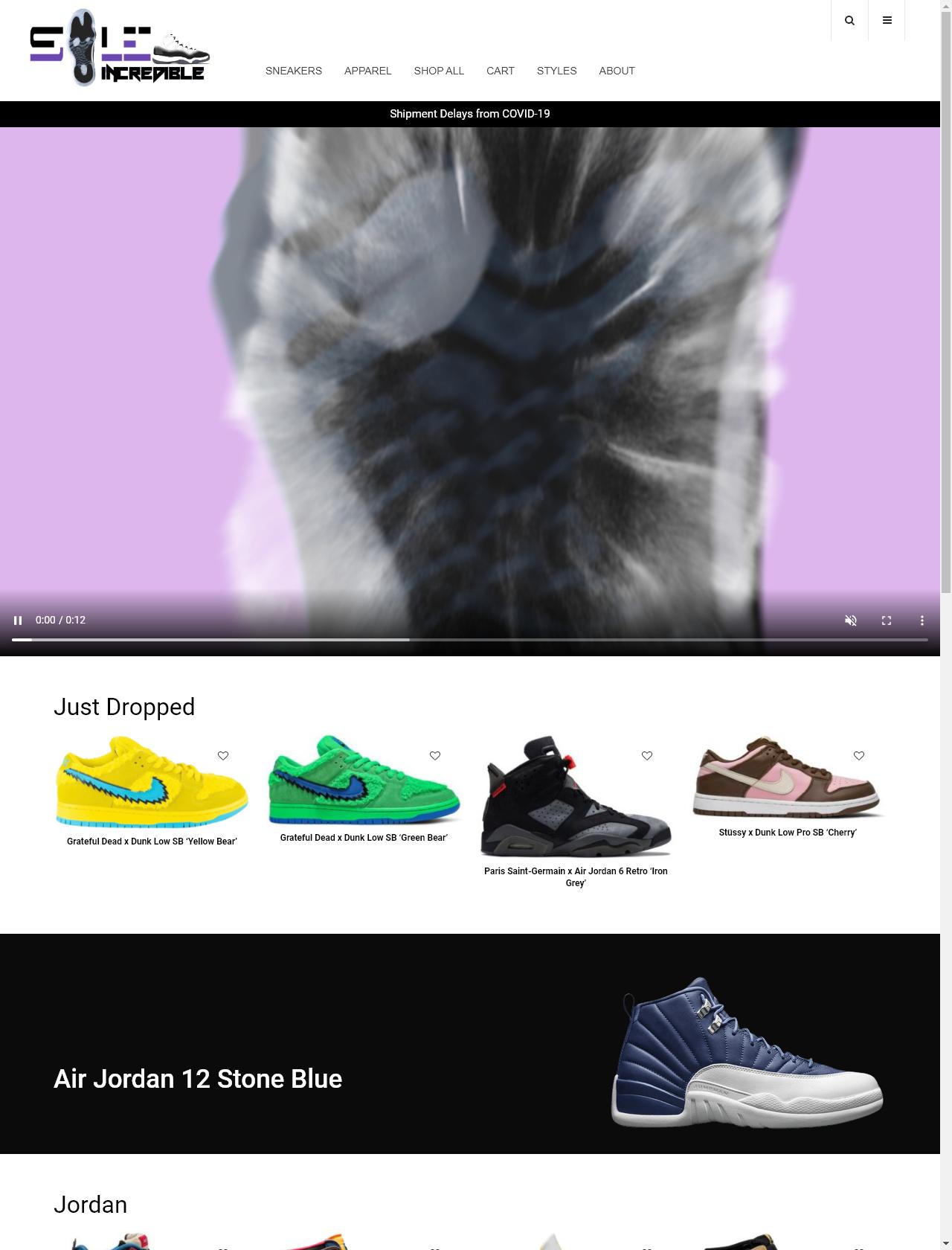 Screenshot Desktop - https://soleincredible.com/