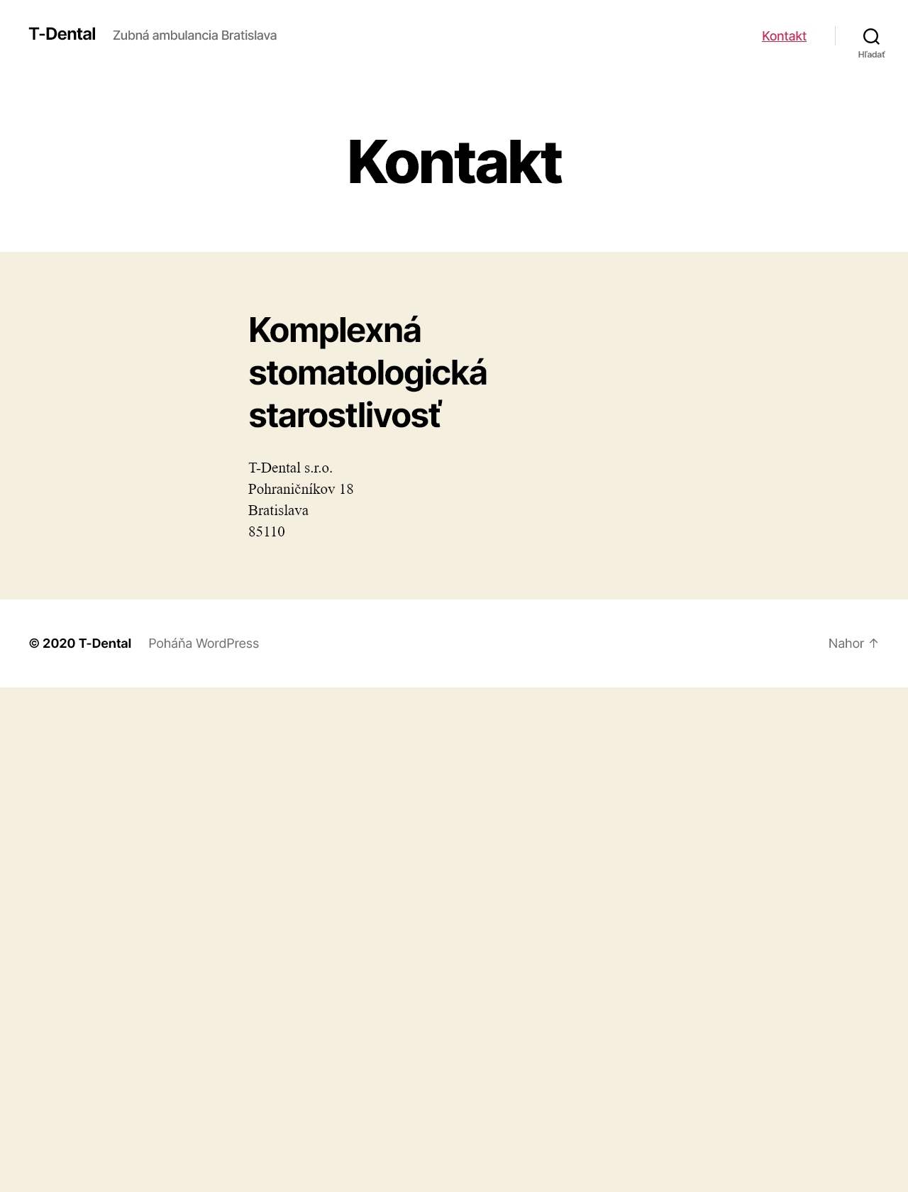 Screenshot Desktop - https://www.t-dental.sk/