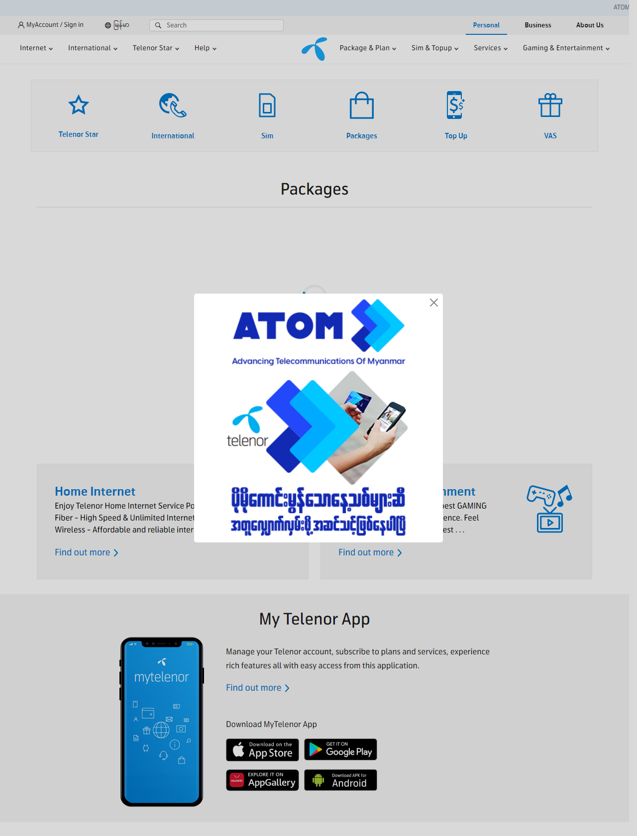 Screenshot Desktop - https://www.telenor.com.mm/