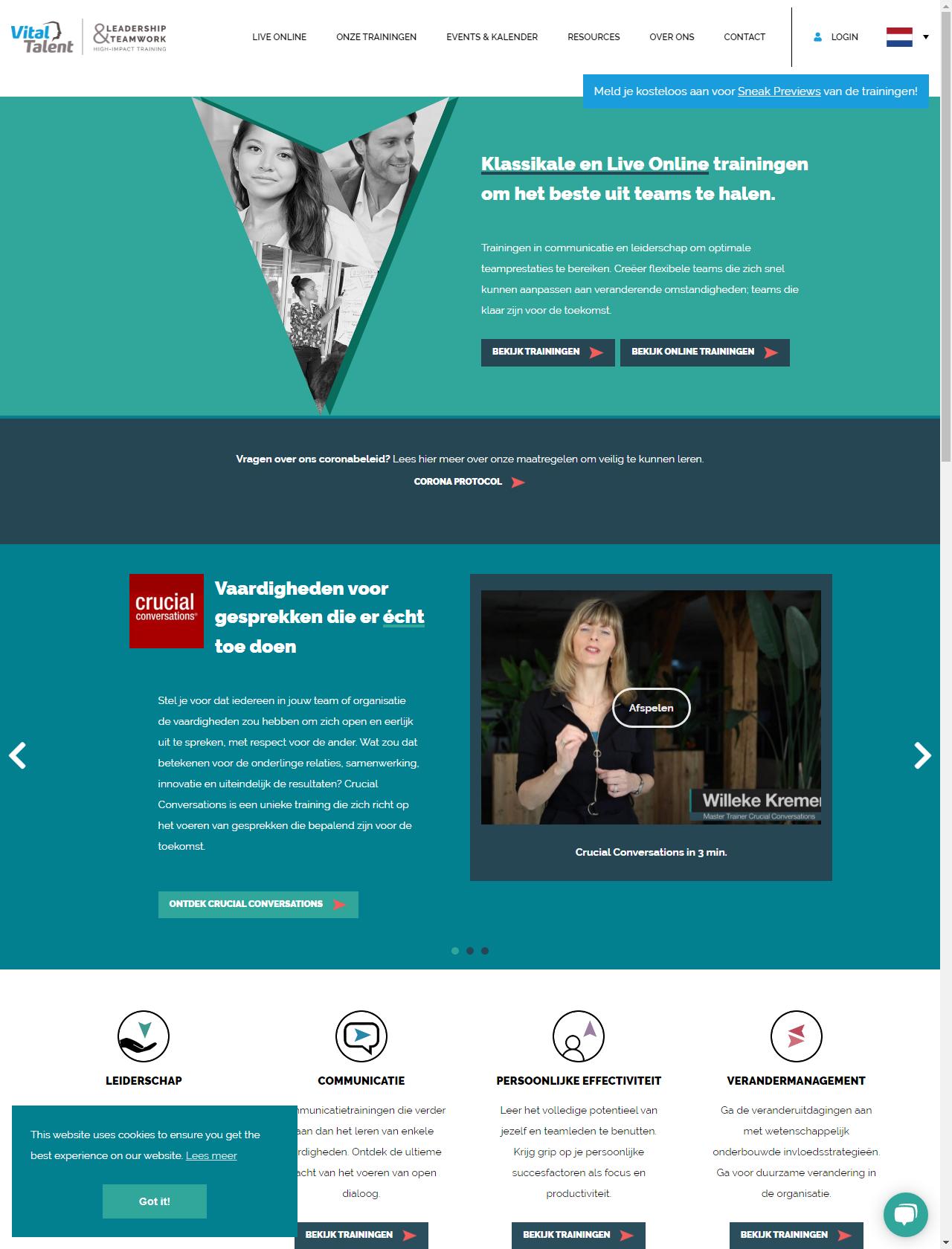 Screenshot Desktop - https://www.vital-talent.nl/