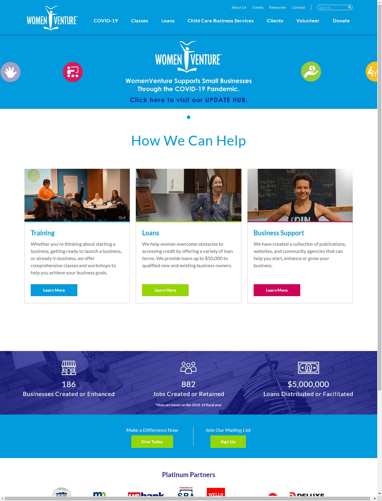Screenshot Desktop - https://www.womenventure.org/