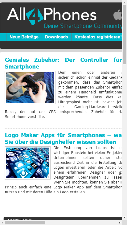 Screenshot mobile - https://all4phones.de/