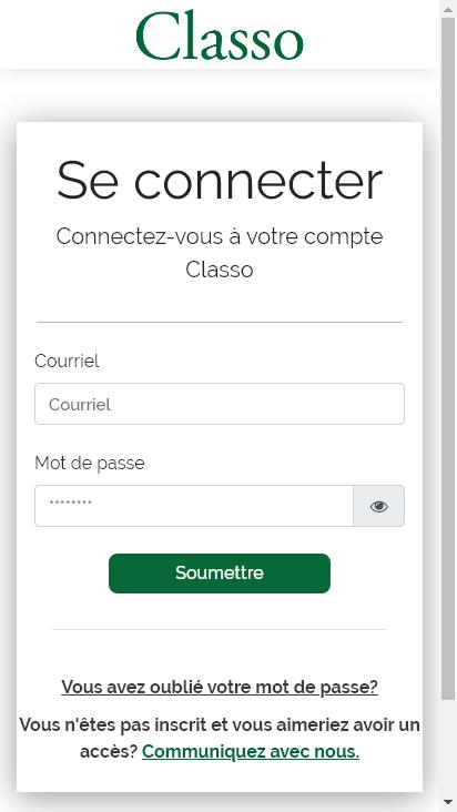 Screenshot mobile - https://app.classo.org/login