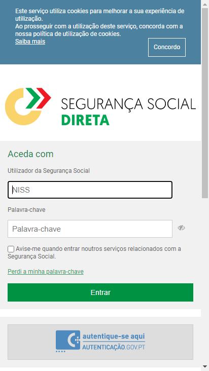 Screenshot mobile - https://app.seg-social.pt/sso/login?service=https%3A%2F%2Fapp.seg-social.pt%2Fptss%2Fcaslogin