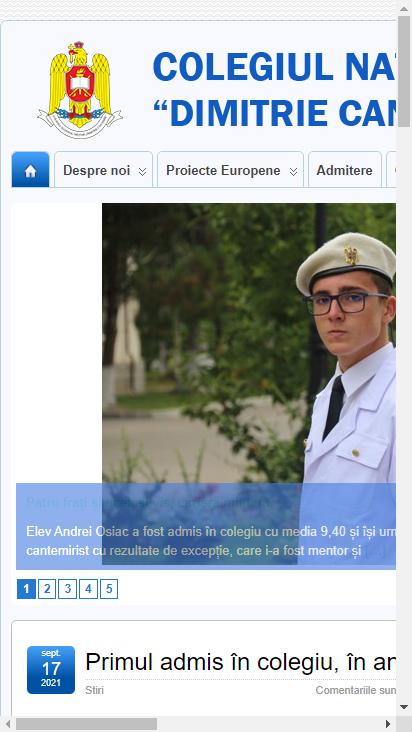 Screenshot mobile - https://www.cantemircml.ro/