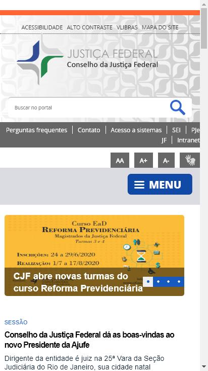 Screenshot mobile - https://www.cjf.jus.br/cjf/