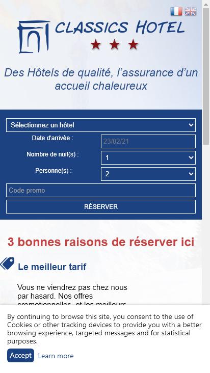 Screenshot mobile - https://classics-hotel.com/