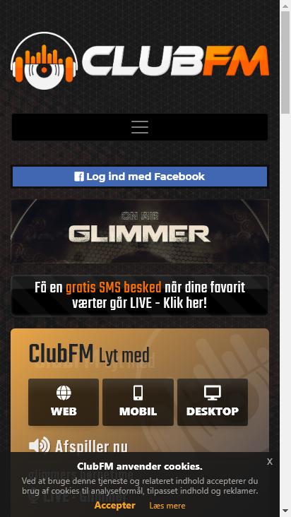 Screenshot mobile - https://clubfm.dk/