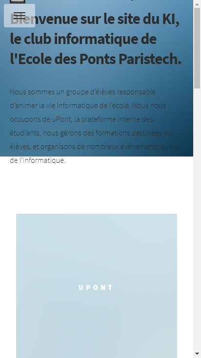 Screenshot mobile - https://clubinfotest.enpc.org/