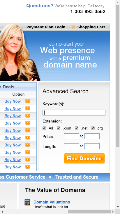 Screenshot mobile - https://www.hugedomains.com/