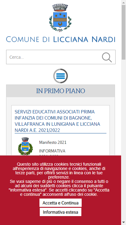 Screenshot mobile - https://comunelicciananardi.ms.it/