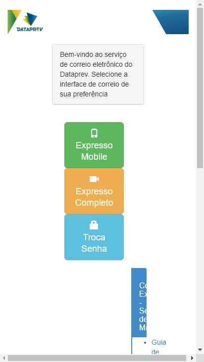 Screenshot mobile - https://correio.datapras.com.br/