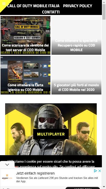 Screenshot mobile - https://www.callofdutymobile.it/