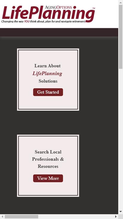 Screenshot mobile - https://dev.agingoptionslifeplan.com/