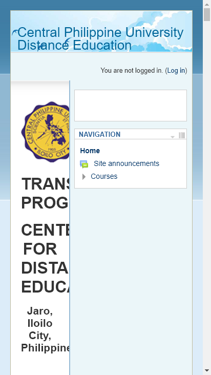 Screenshot mobile - https://distanceed.cpu.edu.ph/