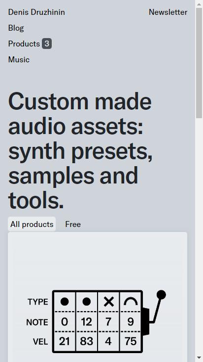 Screenshot mobile - https://drzhnn.com/products/