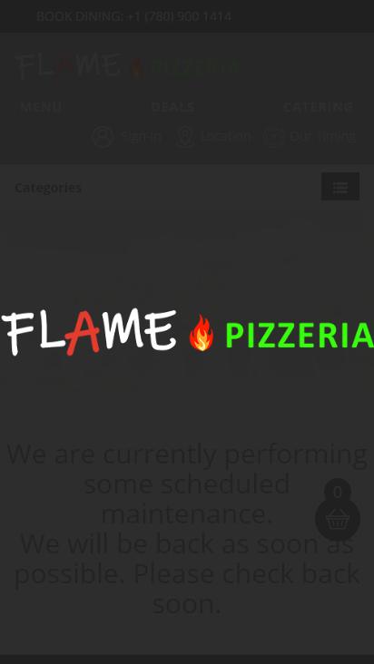 Screenshot mobile - https://flamepizzeria.ca/