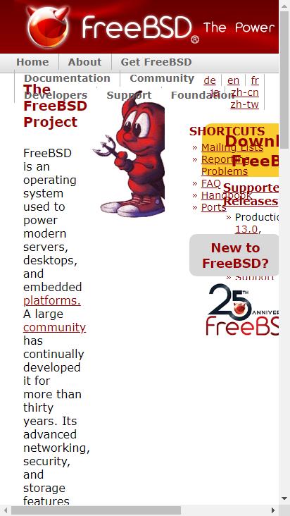 Screenshot mobile - https://www.freebsd.org/