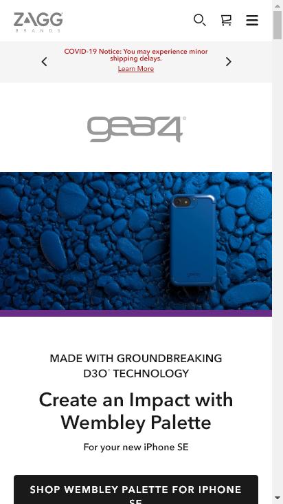 Screenshot mobile - https://www.zagg.com/en_us/gear4