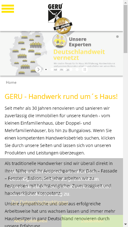 Screenshot mobile - https://www.geru.de/