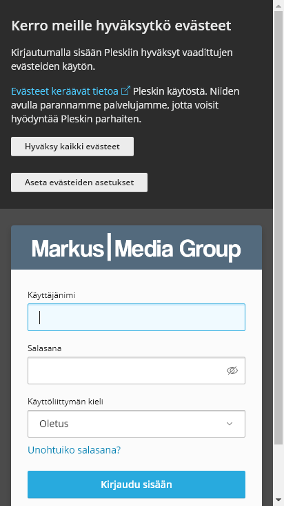 Screenshot mobile - https://hallinta.markusmediagroup.fi:8443/login_up.php?success_redirect_url=https%3A%2F%2Fhallinta.markusmediagroup.fi%3A8443%2F