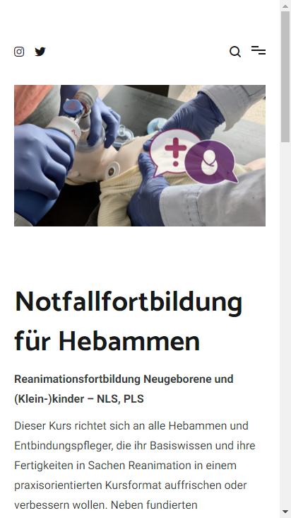 Screenshot mobile - https://www.hebammennotfallfortbildung.de/