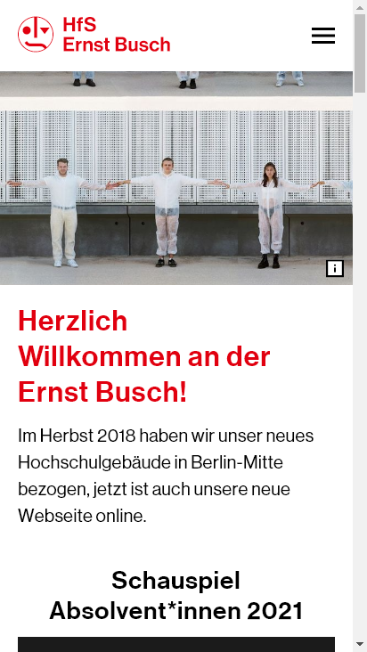 Screenshot mobile - https://www.hfs-berlin.de/