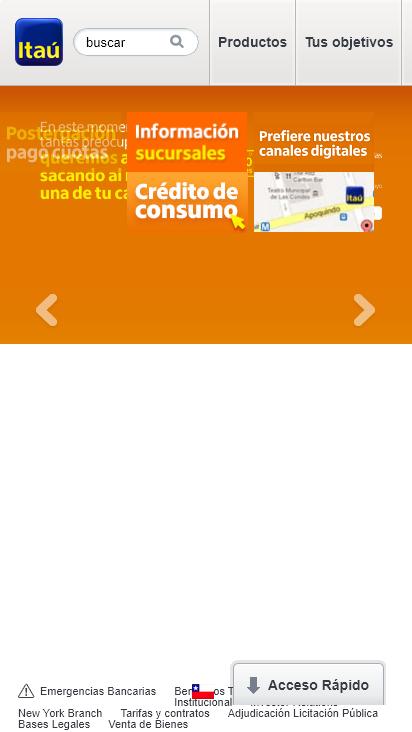 Screenshot mobile - https://banco.itau.cl/wps/portal/BICPublico/home/!ut/p/z1/04_Sj9CPykssy0xPLMnMz0vMAfIjo8ziTf39jC39wywD_f0tLA08vZx93AMD_Yxdg030wwkpiAJKG-AAjgZA_VFgJThMCPQxhSrAY0ZBboRBpqOiIgB2Nwwf/dz/d5/L2dBISEvZ0FBIS9nQSEh/