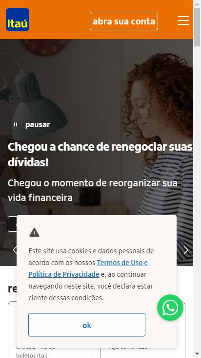 Screenshot mobile - https://www.itau.com.br/