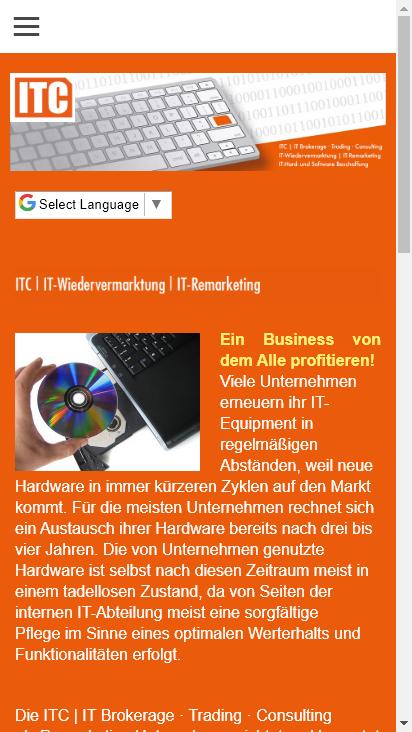 Screenshot mobile - https://www.itc-brokerage.de/